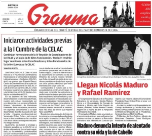 Maduro, Jaua y Cilia en La Habana, la foto de portada de Granma