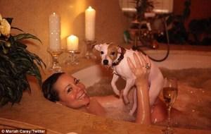 Así celebró Mariah Carey el día de San Valentín (incluye foto en la tina con el perro)