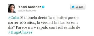 El polémico tuit de Yoani Sánchez sobre la salud de Chávez