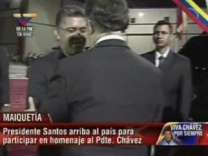 Santos llegó a Venezuela para participar en homenaje a Chávez