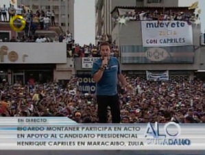 Ricardo Montaner canta en cierre de campaña de @hcapriles en Zulia
