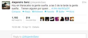 Alejandro Sanz: Mi alma como si estuviera allí, vamos Capriles