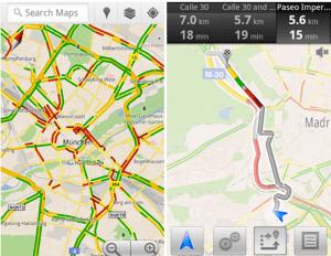 Google Maps añade la información del tráfico a tiempo real