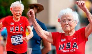 """Abuelita de 103 años, apodada """"Huracán Hawkins"""", bate récords en las pistas de atletismo"""
