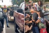 Le apuntó con un arco a los manifestantes que protestaban por la muerte de George Floyd y recibió una paliza (VIDEO)