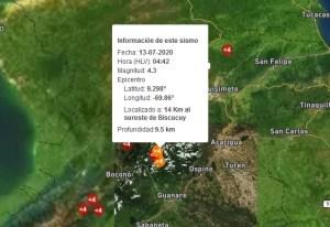 Sismo de magnitud 4.3 se sintió en Biscucuy