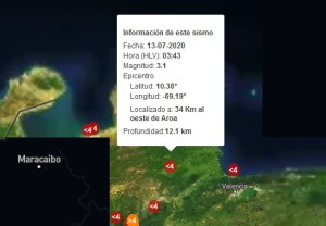 Sismo de magnitud 3.1 en Aroa