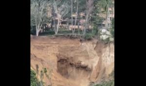 Profundo socavamiento causado por tuberías rotas pone en peligro a las familias de El Hatillo (VIDEOS)