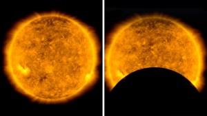 La NASA comparte curiosas imágenes de la Luna 'robando cámara' al Sol mientras transita frente a un telescopio espacial