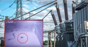 ¿Karma? Intentó robar un conductor eléctrico y recibió brutal descarga de 23 mil voltios (Video)