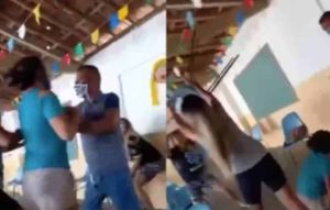 ¡PELEA DE CUAIMAS! Se consiguió a su esposo con la amante en un centro de vacunación (VIDEO)