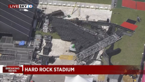Estructura gigante se derrumbó en el Hard Rock Stadium de Florida