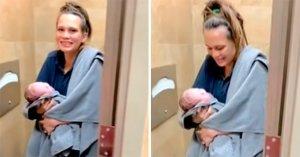 """Entró al baño de una gasolinera en Texas con """"malestar estomacal"""" y salió con un bebé en brazos (VIDEO)"""