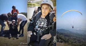 Anciana de 94 años superó el Covid-19 y celebró su cumpleaños volando en parapente (VIDEO)
